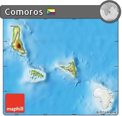 physical map of comoros