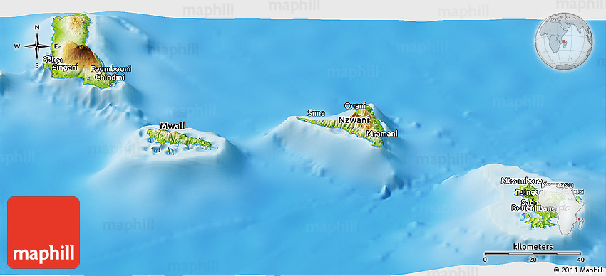 Physical Panoramic Map of Comoros