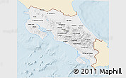 Classic Style 3D Map of Costa Rica, single color outside
