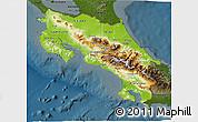 Physical 3D Map of Costa Rica, darken
