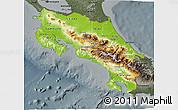 Physical 3D Map of Costa Rica, darken, semi-desaturated