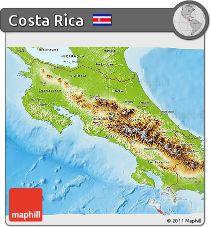 Free Physical 3D Map of Costa Rica
