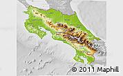 Physical 3D Map of Costa Rica, lighten, desaturated
