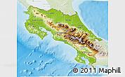 Physical 3D Map of Costa Rica, lighten, land only