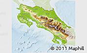 Physical 3D Map of Costa Rica, lighten