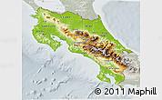 Physical 3D Map of Costa Rica, lighten, semi-desaturated