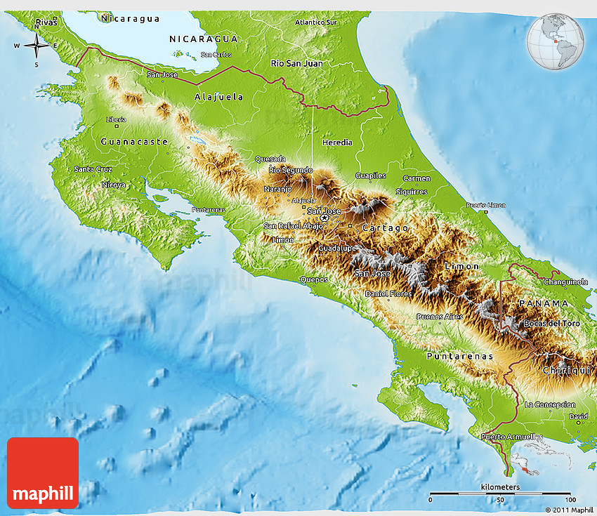 topographic map costa rica Physical 3d Map Of Costa Rica