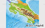Physical 3D Map of Costa Rica, political outside