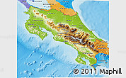 Physical 3D Map of Costa Rica, political outside, shaded relief sea