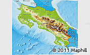 Physical 3D Map of Costa Rica, political shades outside, shaded relief sea