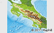 Physical 3D Map of Costa Rica, satellite outside, shaded relief sea