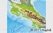 Physical 3D Map of Costa Rica, semi-desaturated, land only