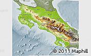 Physical 3D Map of Costa Rica, semi-desaturated