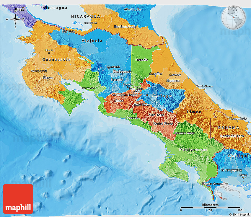 Political 3d map of costa rica gumiabroncs Image collections