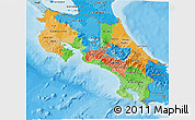 Political 3D Map of Costa Rica, political shades outside