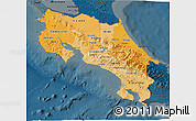 Political Shades 3D Map of Costa Rica, darken