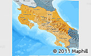 Political Shades 3D Map of Costa Rica, semi-desaturated, land only