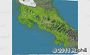 Satellite 3D Map of Costa Rica, semi-desaturated, land only
