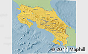 Savanna Style 3D Map of Costa Rica, single color outside