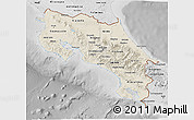 Shaded Relief 3D Map of Costa Rica, desaturated