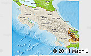 Shaded Relief 3D Map of Costa Rica, physical outside