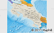 Shaded Relief 3D Map of Costa Rica, political outside, shaded relief sea