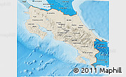 Shaded Relief 3D Map of Costa Rica, political shades outside, shaded relief sea