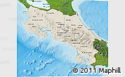 Shaded Relief 3D Map of Costa Rica, satellite outside, shaded relief sea