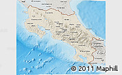 Shaded Relief 3D Map of Costa Rica, semi-desaturated, land only