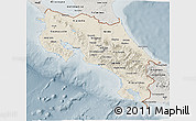 Shaded Relief 3D Map of Costa Rica, semi-desaturated
