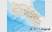 Shaded Relief 3D Map of Costa Rica, single color outside