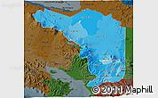 Political Shades 3D Map of Alajuela, darken