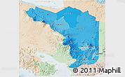 Political Shades 3D Map of Alajuela, lighten
