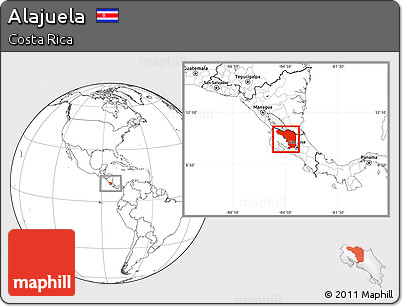Blank Location Map of Alajuela