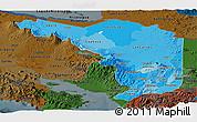 Political Shades Panoramic Map of Alajuela, darken