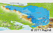 Political Shades Panoramic Map of Alajuela, physical outside