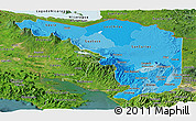 Political Shades Panoramic Map of Alajuela, satellite outside