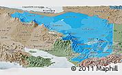 Political Shades Panoramic Map of Alajuela, semi-desaturated