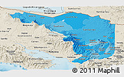Political Shades Panoramic Map of Alajuela, shaded relief outside