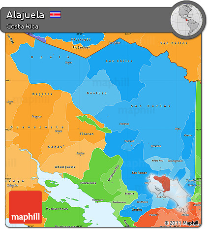 Political Shades Simple Map of Alajuela