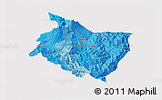Political Shades 3D Map of Cartago, cropped outside