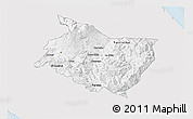 Silver Style 3D Map of Cartago, single color outside
