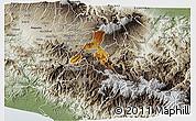 Physical 3D Map of Cartago, semi-desaturated