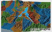 Political 3D Map of Cartago, darken