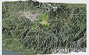 Satellite 3D Map of Cartago, semi-desaturated