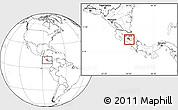 Blank Location Map of Cartago, highlighted parent region