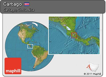 Satellite Location Map of Cartago