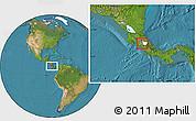 Satellite Location Map of Cartago, highlighted parent region