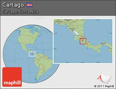 Savanna Style Location Map of Cartago