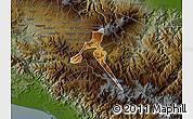 Physical Map of Cartago, darken